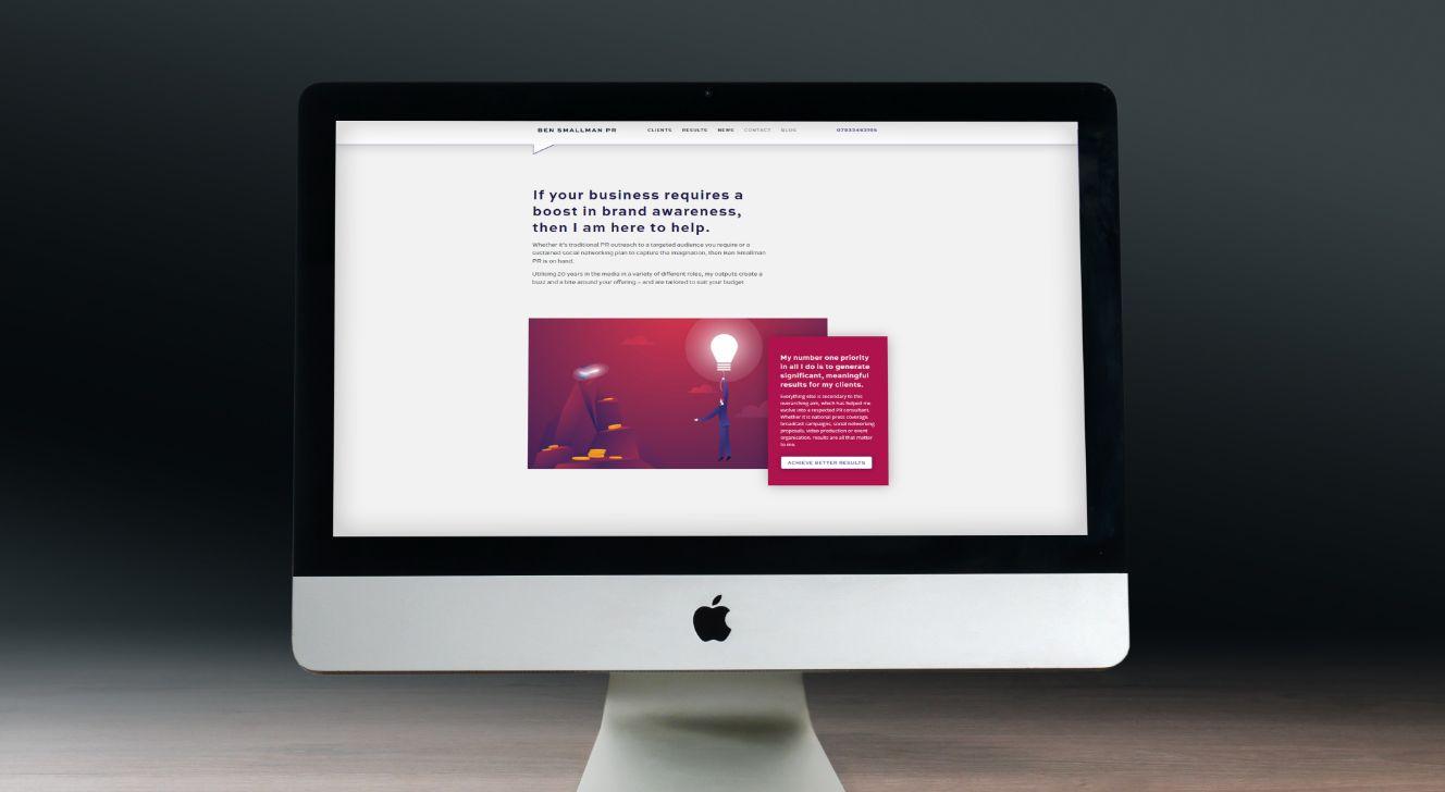 Image of iMac on dark background showing the Ben Smallman PR website